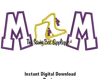 DD DRILL TEAM Mom Applique - Machine Embroidery Design - 5 Sizes - Instant Download