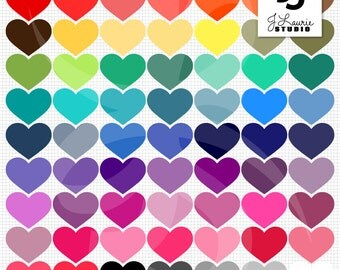 Digital Clipart-63 Colorful Hearts-Bright Colors-Instant Download Clip Art