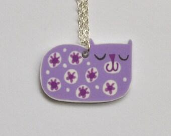 Cat Pendant Necklace in Lilac and Cerise Pink, Miri Hand Drawn Retro Design