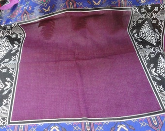 Vintage Purple, Black, Pink, White and Royal Blue Glentex Scarf 100 % Acrylic Made in Japan
