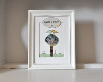 Made to order - Anniversary, Wedding Art - Personalised - Love birds - Romance