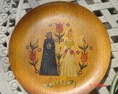 Wooden Plate, Antique Tray, Hand Painted, oil paint on Teak wood, Dutch Folk Art, home decor, spring time flowers