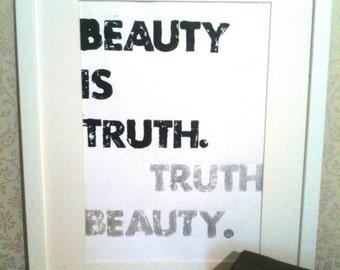 Summer Sale! John Keats Beauty is Truth Truth Beauty Letterpress Print