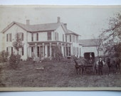 "VINTAGE 1900 PHOTO HORSES buggy and people, farm house, 6-1/2"" x 4"""