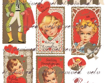Retro Valentines from the 1950's - Digital Collage Sheet - Instant Download