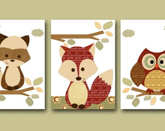 Art for Kids Room Kids Wall Art Baby Boy Nursery Baby Boy Room Decor Baby Nursery Decor set of 3 Print red fox owl decoration