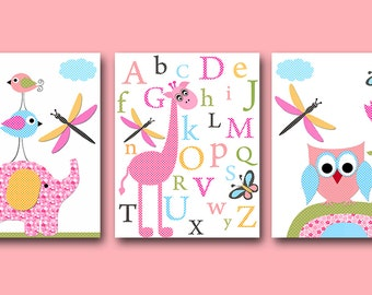 Children Art Kid Wall Art Baby Girl Room Decor Baby Girl Nursery Decor Kids Art Baby Nursery Print set of 3 Print Owl Alphabet Rose Pink