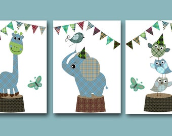 "Baby Boy Nursery art print Childrens Wall Art Baby Room Decor set of 3 11""x14"" elephant giraffe owls grey blue"