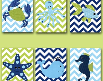 Fish Crab Baby Boy Nursery Art Nursery wall art baby nursery kids room decor Kid Art Boy Print set of 6 whale nursery blue green navy