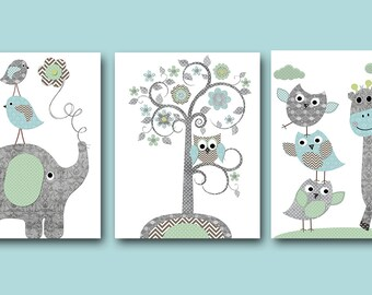 Baby Boy Nursery Art Print Nursery Wall Art Kids Wall Decor Baby Room Decor Kids Art Elephant Nursery Print set of 3 Tree Owl Blue Gray