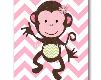 Monkey Nursery Baby Girl Nursery Art Nursery wall art baby nursery decor kids room decor Kids Art Girl Print monkey rose green baby art