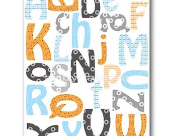 Alphabet Nursery Alphabet Baby Boy Nursery Decor Baby nursery print children art print Nursery Print Boy Art alphabet blue orange gray