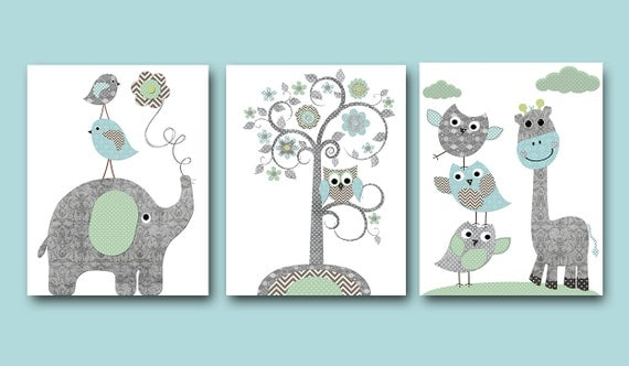 Baby boy nursery art print nursery wall art kids wall decor for Baby boy mural ideas