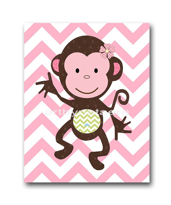 Girl Monkey Nursery Wall Decor : Monkey nursery baby girl art wall