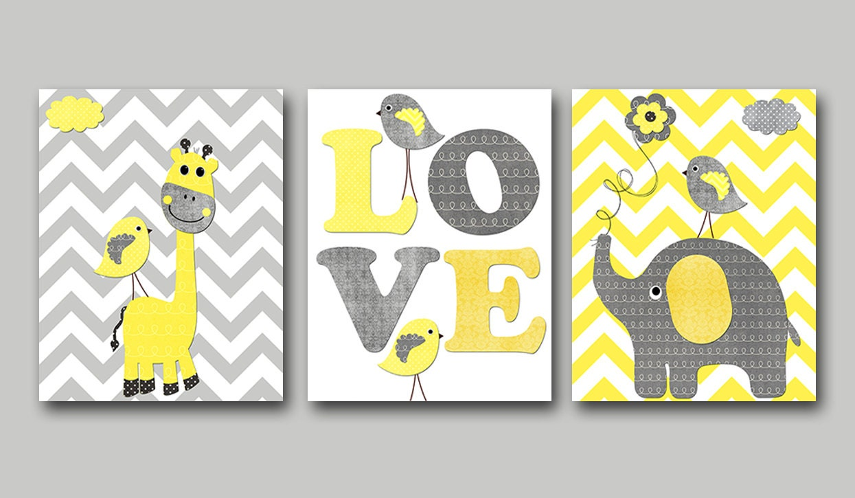 Giraffe Elephant Baby Boy Girl Nursery Art Print Children Wall