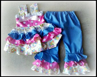 Boutique style OTT Ruffle Capris Set, Cupcakes,  Polka Dot, Pageant Wear , OOC size 0-3, 3-6, 6-12, 12-18, 1-24 months size 2, 3, 4, 5T