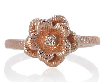 14 Karat White Rose or Yellow Gold Rose Flower with Center Stone Ring