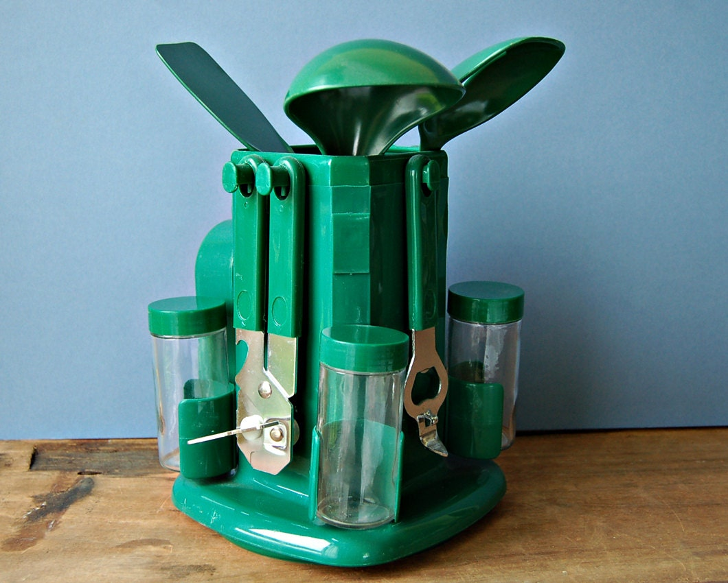 Retro Green Plastic Rotating Kitchen Utensils Holder Pot Or