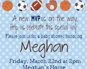 Sports Baby Shower, Sports Invitation, Boy Baby Shower, Sports, Baby Shower Invitation, DIY