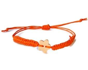 Bracelet Baby, bracelet Flower, orange rustic, Hemp wish bracelet, Simple Friendship Bracelet, Ecofriendly jewelry, toddler jewelry