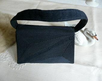 SALE - Purse - Woman's Navy Handbag - Satin Silk Bag - Top Strap Handle - Vintage Purse -Small Evening Handbag -Cocktail Party Bag - Formal