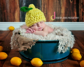 Crochet Lemon hat, Crochet fruit hat, Newborn Photo props made to order Item #L13