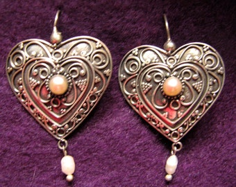 Bargain -- Bali-Made Sterling Silver HEART Earrings with PEARLS
