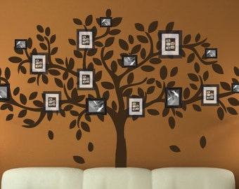 modern family tree wall decal sticker picture frame tree branch leaves leaf wall art home decor living room - Family Tree Design Ideas