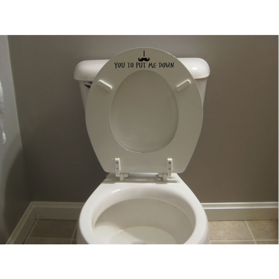 Funny Mustache Toilet Seat Decal Sticker Put The Seat Down