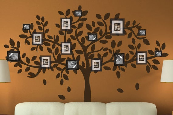 Modern Family Wall Decor : Modern family tree wall decal sticker picture frame