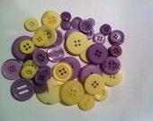 50 light purple and pale yellow buttons destash buttons scrapbook crafts