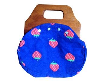 Super Sweet Royal Blue Strawberry Reversible Wooden Handle Bermuda Purse