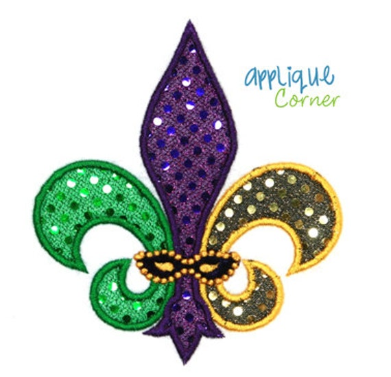 377 Fleur Delis Three Color For Mardi Gras Applique Design In