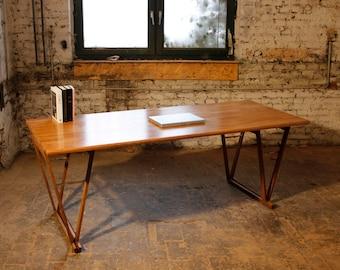 LARGE STUDY DESK, Wild European Beechwood,  Original Solid Beechwood Table, Custom Made in Berlin, With rustic Double v Legs, #1.5
