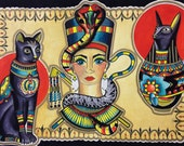 Items similar to egyptian tattoo flash art print queen for Egyptian tattoo flash