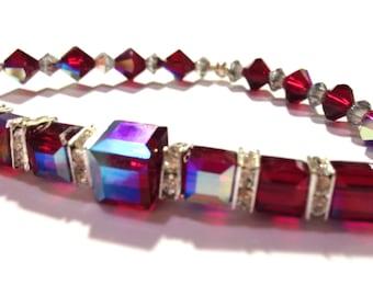 Swarovski Cube Bracelet, Sparkle Jewelry, Red Crystal Stretch Bracelet, Gift Idea