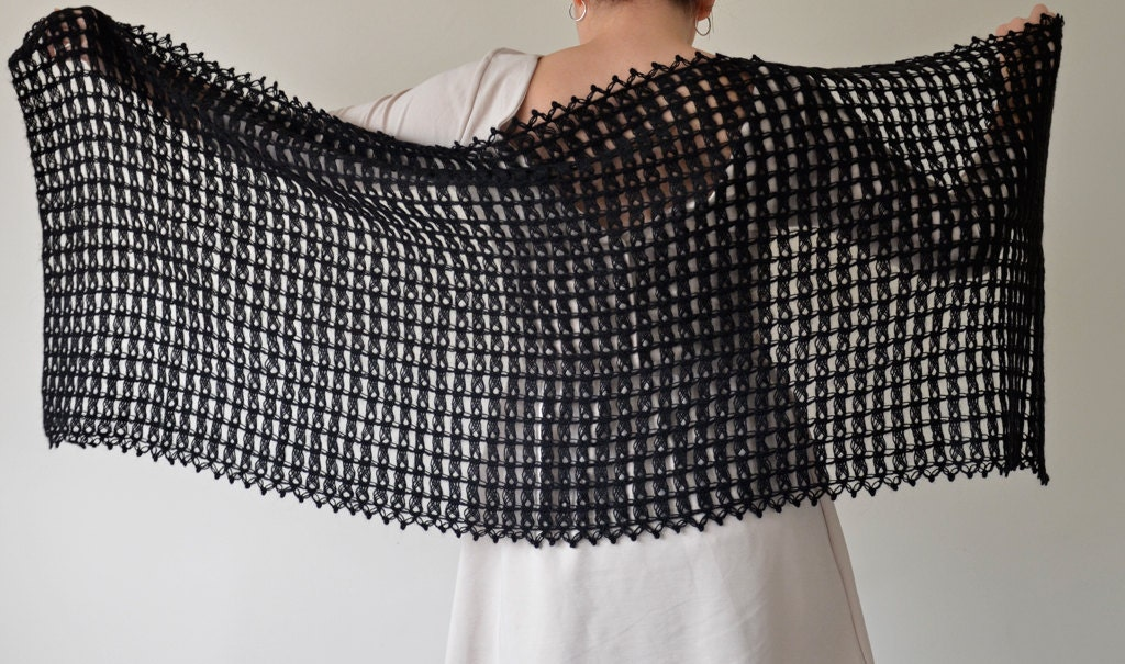 Handmade Black Broomstick Lace Crochet Rectangle Shawl
