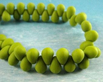 MATTE AVOCADO DROPS...Czech Teardrop Beads, 6mm