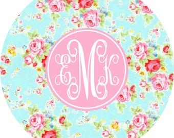 Monogrammed Melamine Plate, Personalized Melamine Plate, Melamine Dinnerware, Vintage Floral Look