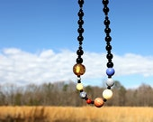 Solar System Gemstone Necklace - Planets, Sun, Space, & Stars - Approximately 30 Inches