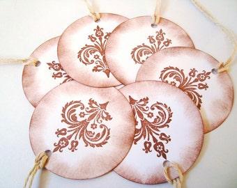 Fleur-de-lis, Rustic , Hanging, Tags, Gift, Vintage, Inspired, prestrung - set of 12