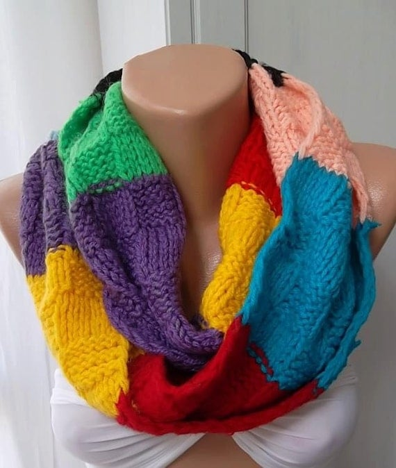 SALE Hand knit Scarf Long Scarf Colorfull Winter scarf Gift for her Hand Knitted Scarves For Sale