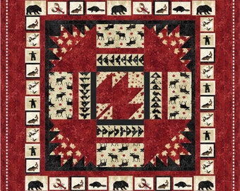 "Pattern (Hard Copy) to Make Oh Canada Quilt 60"" x 76"" Using Stonehenge Fabric by Northcott"