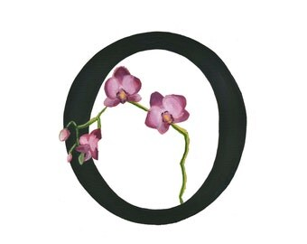 O is for Orchid, Floral Alphabet 5x7 or 8x10 print