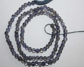Natural AAA Quality Iolite 2 to 3mm Smooth Round Gemstone Beads 13 Inches RD068