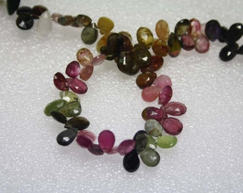 Natural AAA Quality Multi Tourmaline 5X7 to 5X8mm Faceted Briolette Pear Gemstone Beads 8 Inches BA067