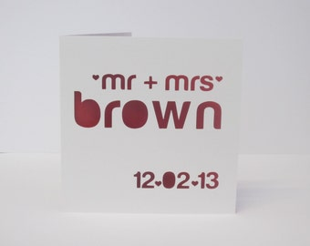 Modern Mr and Mrs personalised papercut card