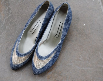 90s Denim Wedge Heels Women's Size 5 M Adorable