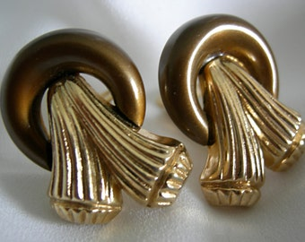 Antiqued Copper Tone and Gold Tone Clip On Earrings - Ring and Tassel Design - Signed Crown TRIFARI - Vintage 1955- 1970s