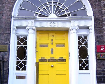 Dublin Door Photo. Yellow Door. Dublin, Ireland. Merrion Square. Travel Photography. Home Decor. Wall Art Bathroom Kitchen Decor. Baby room.